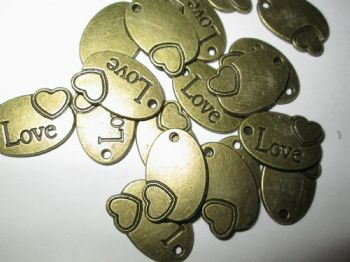 Bronze metal OVAL 'LOVE'   Charm/Pendant with engraved heart
